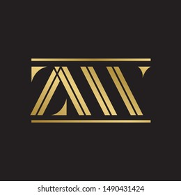 Initial letter zw double line uppercase modern logo design template elements. Gold letter Isolated on black  background. Suitable for business, consulting group company.