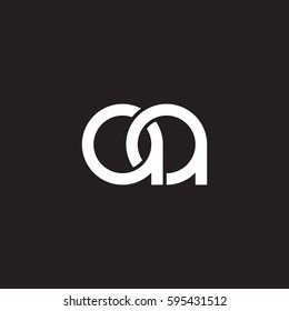 Initial letters aa round linked chain shape lowercase logo modern design white black background