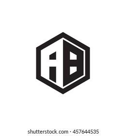 Initial letters AB negative space hexagon shape monogram logo