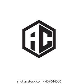 Initial letters AC negative space hexagon shape monogram logo