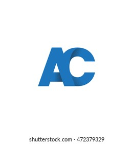 Initial letters AC overlapping linked fold logo blue