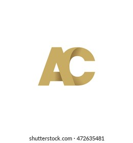 Initial letters AC overlapping linked fold logo brown gold