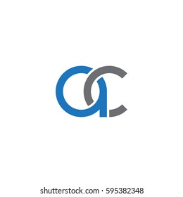 Initial letters ac round linked chain shape lowercase logo modern design blue gray