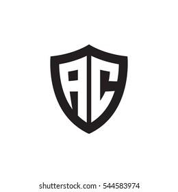 Initial letters AC shield shape black monogram logo