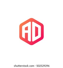 Initial letters AD rounded hexagon shape red orange simple modern logo