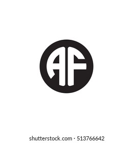 Initial letters AF circle shape monogram black simple modern logo
