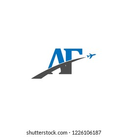 Initial Letters AF Travel Logo Design with Aircraft Airplane Icon