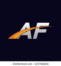 Initial letters AF vector illustrations designs overlapping with orange swoosh vector for company or factory logo on blue dark background.