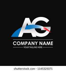 Initial letters AG overlapping movement swoosh logo, metal silver blue red color on black blackground