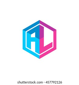 Initial letters AL hexagon box shape logo blue pink purple