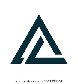 Initial letters AL overlapping fold logo