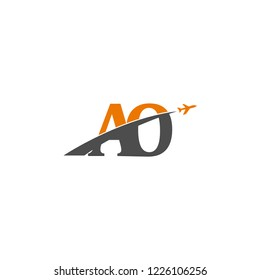 Initial Letters AO Travel Logo Design with Aircraft Airplane Icon