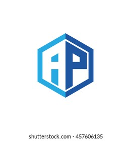 Initial letters AP negative space hexagon shape logo blue