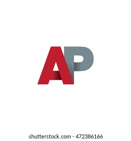 Initial letters AP overlapping linked fold logo red gray