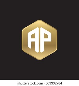 Initial letters AP rounded hexagon shape gold modern logo