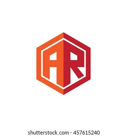 Initial letters AR hexagon shape logo red orange