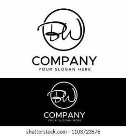 Initial letters B W elegant logo, Modern Logo Design Vector