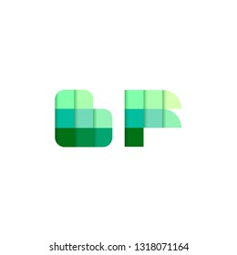 Initial Letters BF Pixel Brick Logo Design Inspiration in Blue Color