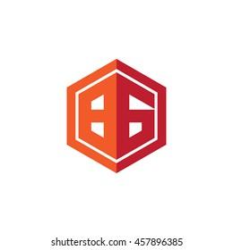 Initial letters BG hexagon shape logo red orange