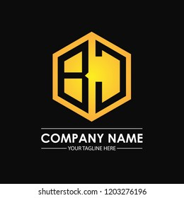 Initial letters BJ hexagon shape logo design black gold