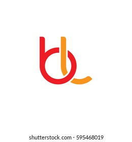 Initial letters bl, round linked chain shape lowercase logo modern design red orange