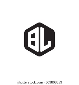 Initial letters BL rounded hexagon shape monogram black simple modern logo