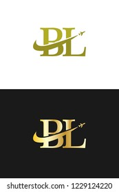 Initial Letters BL Travel Logo Design with Aircraft Airplane and Swoosh Icon