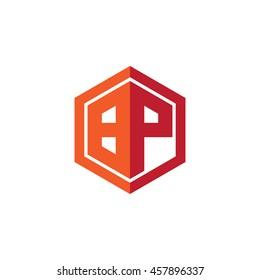 Initial letters BP hexagon shape logo red orange