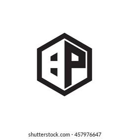 Initial letters BP negative space hexagon shape monogram logo
