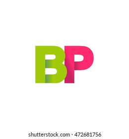 Initial letters BP overlapping fold logo green magenta