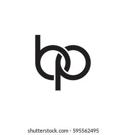 Initial letters bp, round linked chain shape lowercase logo modern design monogram black