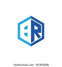 Initial letters BR negative space hexagon shape logo blue