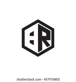 Initial letters BR negative space hexagon shape monogram logo