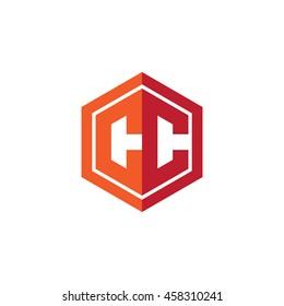 Initial letters CC hexagon shape logo red orange