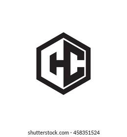 Initial letters CC negative space hexagon shape monogram logo