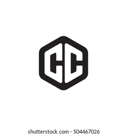 Initial letters CC rounded hexagon shape monogram black simple modern logo