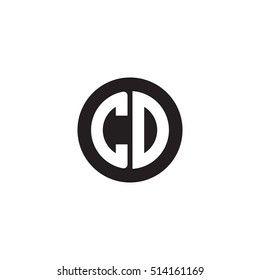 Initial letters CD circle shape monogram black simple logo