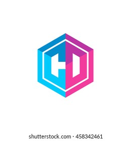 Initial letters CD, CO, hexagon box shape logo blue pink purple