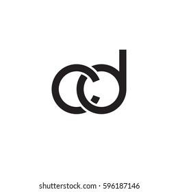 Initial letters cd, round linked chain shape lowercase logo modern design monogram black