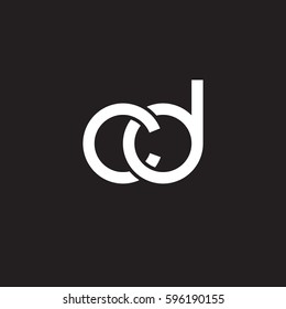 Initial letters cd, round linked chain shape lowercase logo modern design white black background