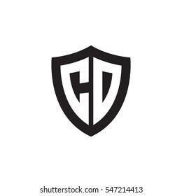 Initial letters CD shield shape black monogram logo