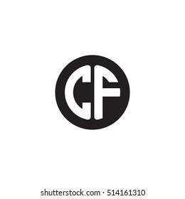 Initial letters CF circle shape monogram black simple logo