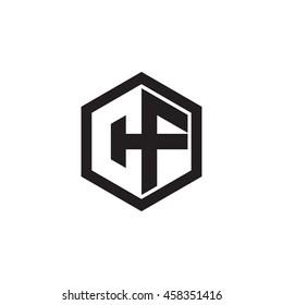 Initial letters CF negative space hexagon shape monogram logo