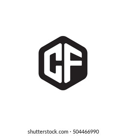 Initial letters CF rounded hexagon shape monogram black simple modern logo
