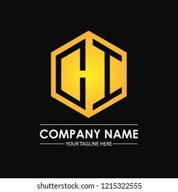 Initial letters CI hexagon shape logo design black gold