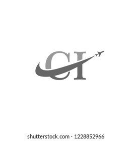 Initial Letters CI Travel Logo Design with Aircraft Airplane and Swoosh Icon