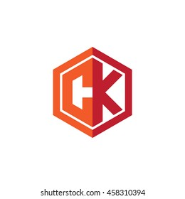 Initial letters CK hexagon shape logo red orange
