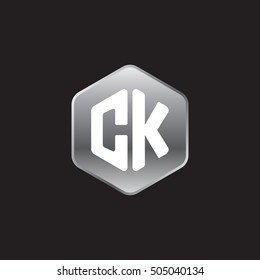Initial letters CK rounded hexagon shape silver modern logo