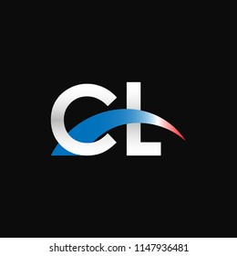 Initial letters CL overlapping movement swoosh logo, metal silver blue red color on black background