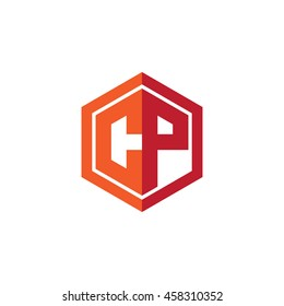 Initial letters CP hexagon shape logo red orange